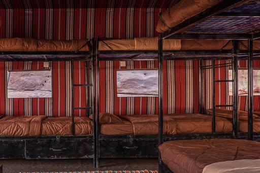 bunk beds in dormitory in Wadi Rum Bedouin Tent