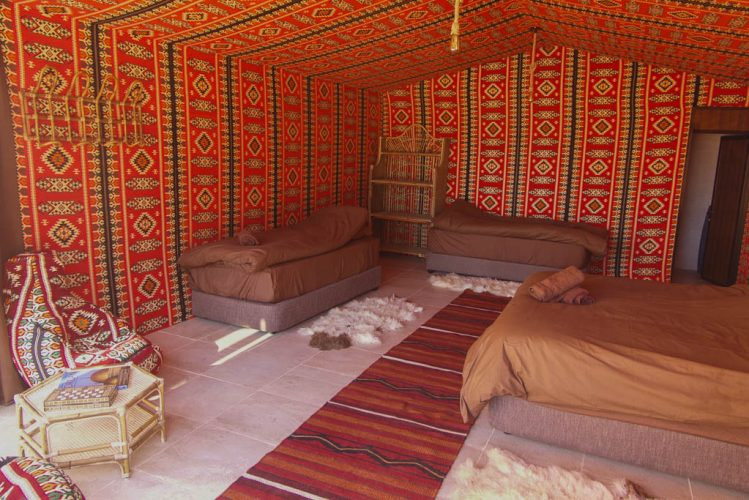 Family Luxury Bedouin Tent with Queen bed and 2 singles Wadi Rum