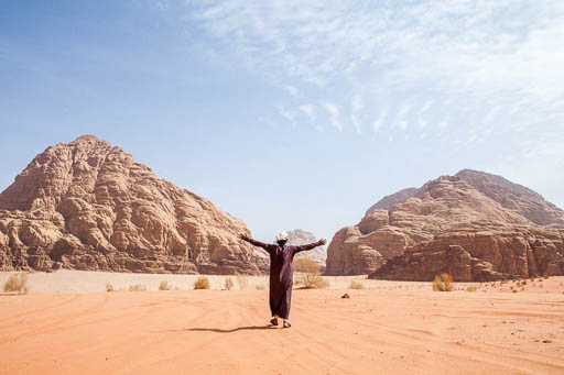 Bedouin in awe of Wadi Rum Protected Area