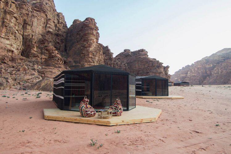 Exterior of Balcony and panoramic window for Luxury Bedouin Tent Wadi Rum