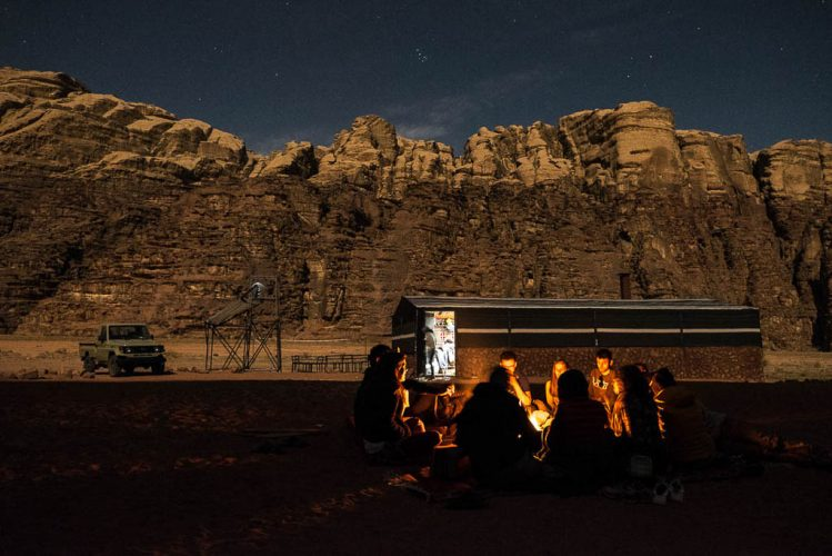 campfire under the stars in Wadi Rum Bedouin camp