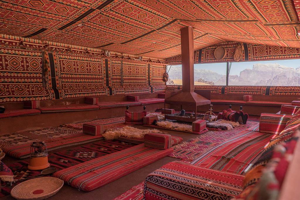 Communal Bedouin tent in Wadi Rum, Jordan