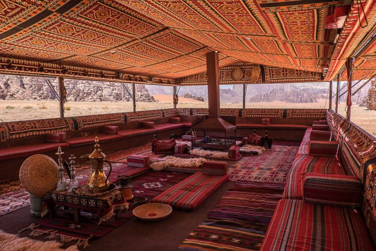 interior bedouin tent with traditional elements