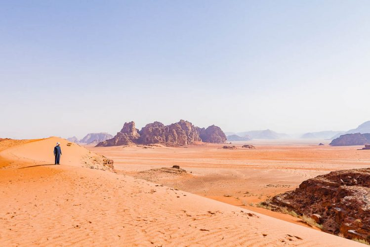 bedouin looks out at Wadi Rum desert