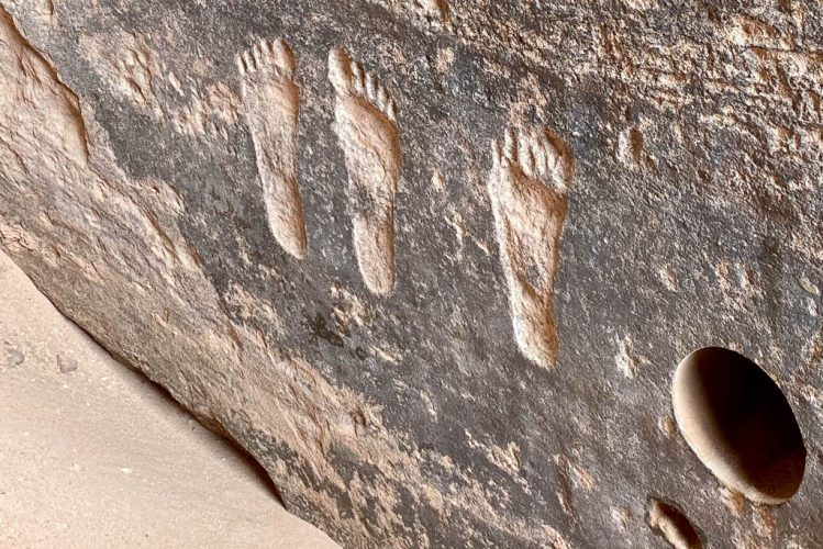 Foot inscriptions in Wadi Rum, Jordan