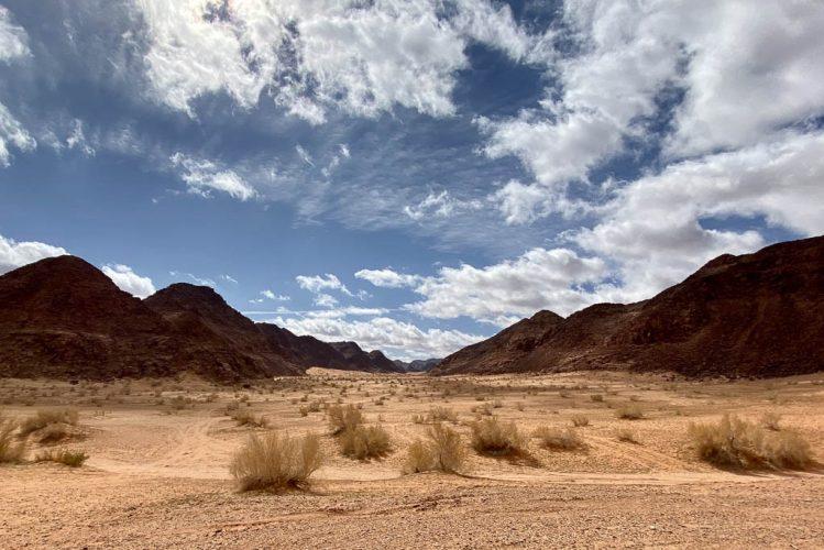 Amazing Wadi Rum desert with blue skies