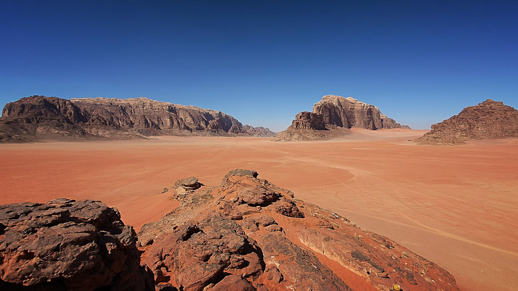 Desert landscape in Wadi Rum