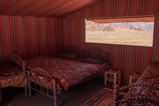 Bedouin family tent with view of Wadi Rum