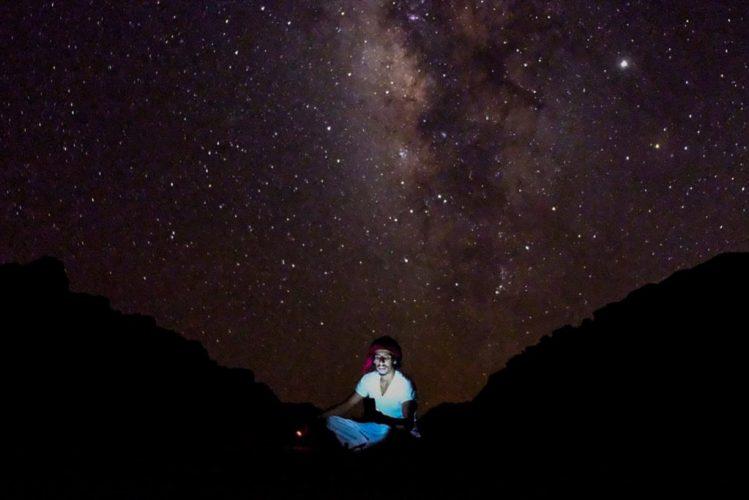 starry skies wadi rum desert nights, bedouin enjoys million stars