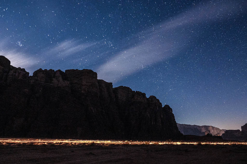stars over bedouin camp in wadi rum desert