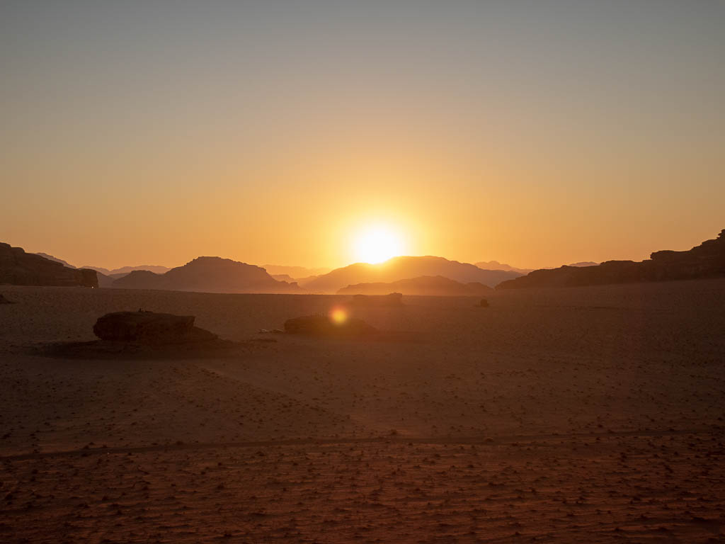 wadi rum protected area desert sunset