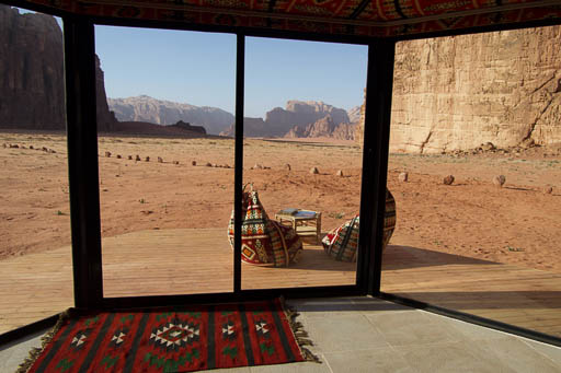 Wadi Rum desert view from your bed - luxury tent with balcony