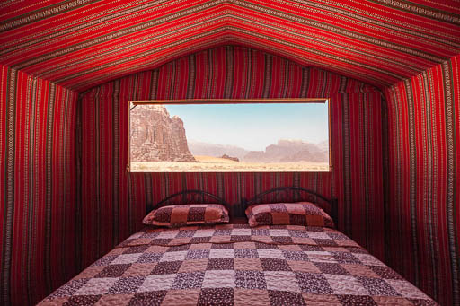 traditional bedouin tent with view from large open window Wadi Rum