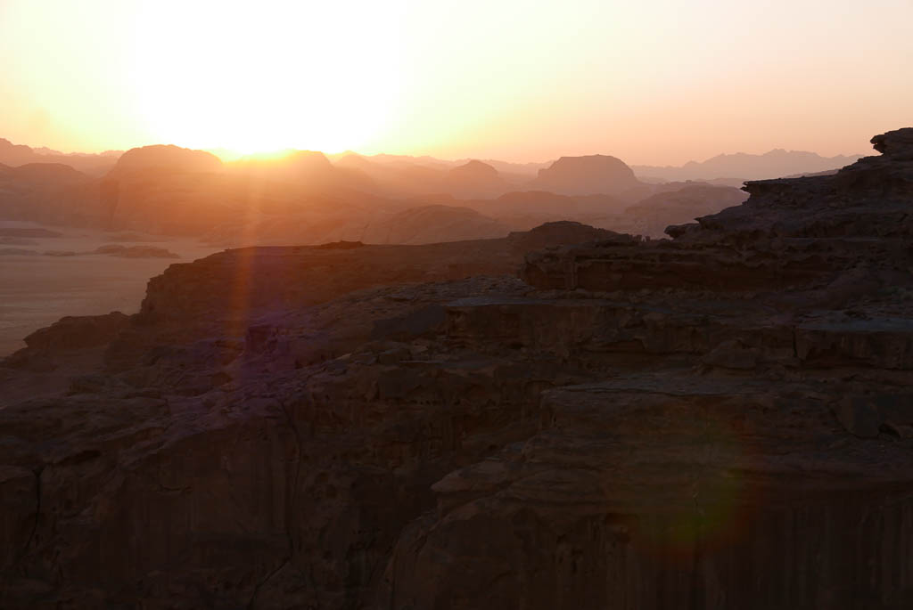 un set over sandstone rock formations in wadi rum desert Jordan