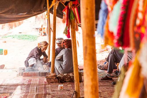 bedouin prepare tea in traditional tent in wadi rum