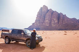 bedouin parked in front of 7 pillars wadi rum jordan